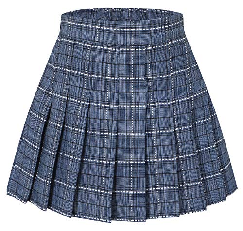 Girls' Plaid Pleated School Uniform Skort Skirt for Kids Toddlers, Little and Big Girls Blue, Tag 170 = 13-14 Years -