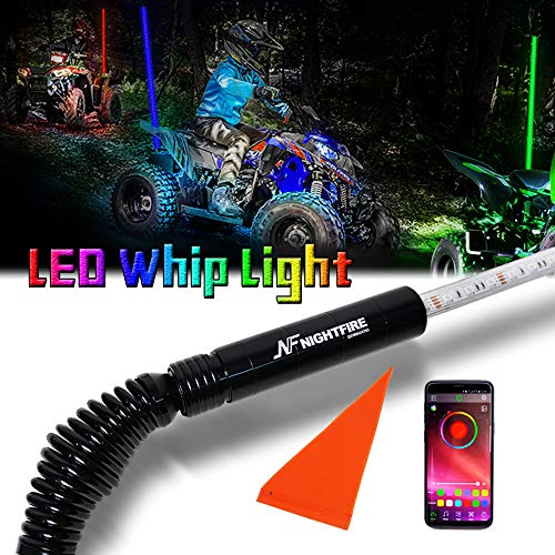 (NF NIGHTFIRE RGB LED Whip 6FT APP Bluetooth Control w/Quick Release Shock-absorbing Spring ATV Safety Flag UTV Antenna Lighted Whips For RZR Polaris Can Am X3 Boat Sand Dune Buggy (One Whip))