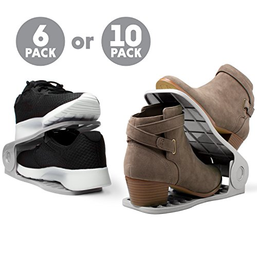 "Livin' Well Adjustable Shoe Rack Shoe Organizer – ""Stack A Shoe"" Racks Shoe Storage for Space Saving Shoe Organization (pack of 10, Grey)"