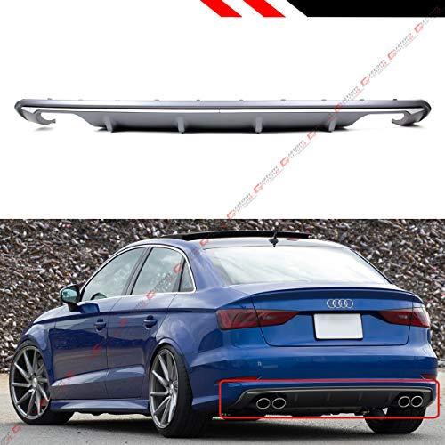 Shark Fin Rear - Fits for 2013-2016 Audi A3 4 Door Sedan 8V S3 Style Quad Exhaust Shark Fin Rear Bumper Diffuser Lip