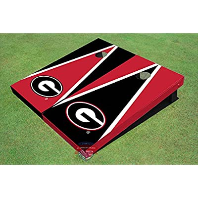 All American Tailgate University of Georgia G Red and Blk Alternating Triangle Cornhole Boards: Toys & Games