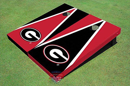 University of Georgia ''G'' Red and Blk Alternating Triangle Cornhole Boards by All American Tailgate (Image #1)