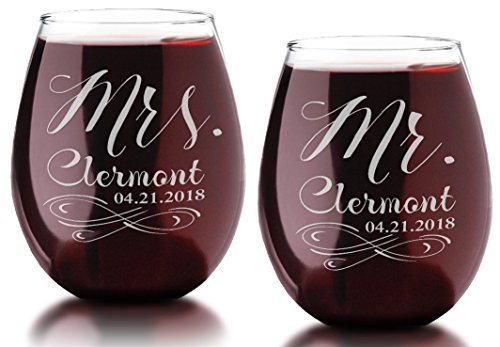 Infinity Set of 2 Mr Mrs Stemless Wine Engraved Glass Soon to Be Husband Wife Present Couples Newly Married Wedding Gift Bride Groom Drinkware Keepsake