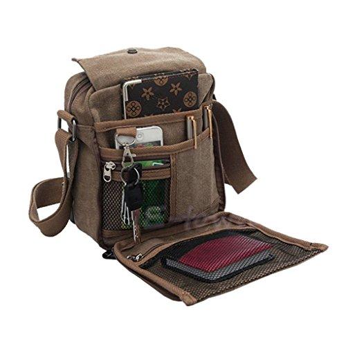 Multi Pocket Laptop Tote (Doshop Men Vintage Casual Multi-Pocket Canvas Cross Body Bag Rucksack Small Satchel Shoulder Messenger Zip Bag Gift)