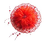 Aimeely Lovely Flower Beaded Hat Veil Women Girls Hair Ornaments With Clip Red