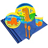 T-Rex Dinosaur Party Supplies - 1st Birthday Party Pack for 8