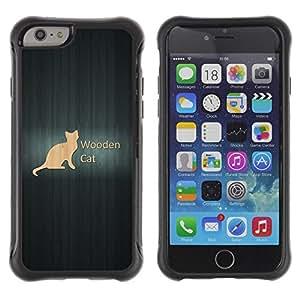 Fuerte Suave TPU GEL Caso Carcasa de Protección Funda para Apple Iphone 6 / Business Style Wooden Cat