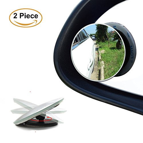 Blind Spot Mirrors, 360 Degree Rotate Sway Adjustabe HD Glass Convex Wide Angle Rear View Car SUV Universal Fit Stick-On Lens. Free 2 pieces of adhesive
