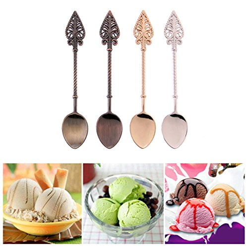 1 Set (4 Pcs/Set) Retro Alloy Scoop Ladle Gold Silver Copper Spoon Professional Coffee Latte Tea Ice Cream Sundae Dessert Soup Tablespoon Tableware Superbly Popular Pocket Fork Kitchen Decor Tool (Marmalade Spoon)