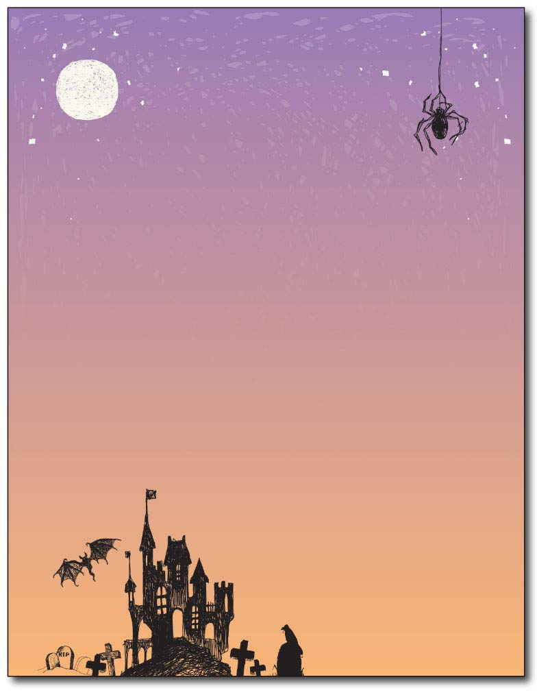 Amazon.com : Haunted House Halloween Stationery Paper - 80 Sheets ...