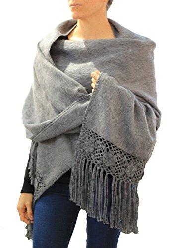 - TINKUY PERU - Peruvian Alpaca Wool - Women's Crochet Hand - Knitted Flowers Pashmina Shawl Wrap (Grey)