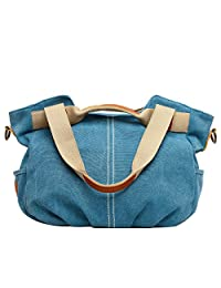 Eshow Women's Canvas bag Top Handle Totes Shoulder Bag Shopping Travel School Cross body Bag for Women Tote handbag Messenger Bag Daily Bag Purse,Blue