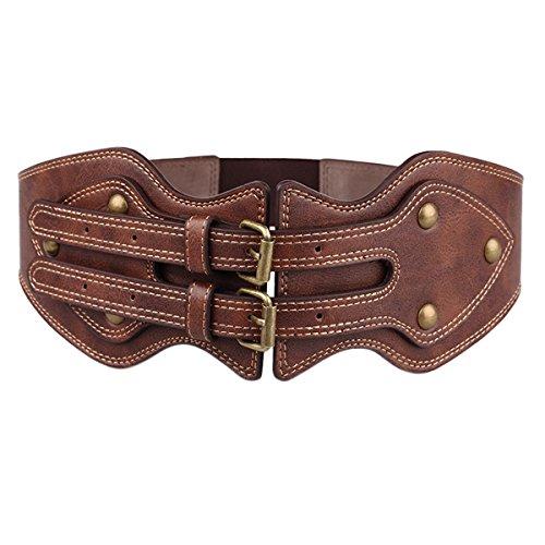 Womtop Women Belts Retro Women Wide Elastic Obi Belt Vintage PU Leather Waist Belt Dress Belts (Brown, 92 cm)