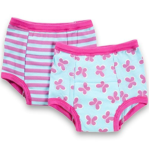 Inner Training - green sprouts Training Underwear 2T Girls - 2 Pairs Of Soft Potty Training Pants For Girls, 24 Months (Aqua Butterfly Design)