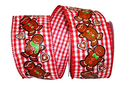 Reliant Ribbon 93057W-001-40F Gingerbread Gingham Check Wired Edge Ribbon, 2-1/2 Inch X 10 Yards, -