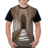 Graphic T-Shirt,Apartment Decor Collection,France Provence Senanque Abbey Corridor Antique Medieval Landmark Classic Decoration,Beige S-XXL Women Baseball Short Sleeve Shirts