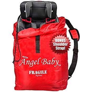 CAR SEAT TRAVEL BAG Cover - DURABLE Polyester with SHOULDER STRAP, Water Resistant, Lightweight - Great for Airport Gate Check and Storage - Fits Carseats, Booster & Infant Carriers by Angel Baby