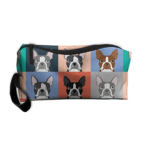 Boston Terriers Tile Bulldaog Pattern Portable Storage Pouch Travel Makeup Bag Oxford Cloth Kit Organizer For Sewing Medicine Comestic Fashion Pencil Pen Case Boston Tile Box
