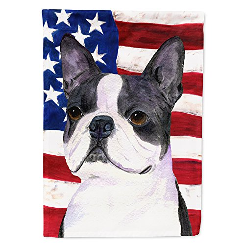 Flag Terrier House - Caroline's Treasures SS4021CHF USA American Flag with Boston Terrier Flag Canvas, Large, Multicolor