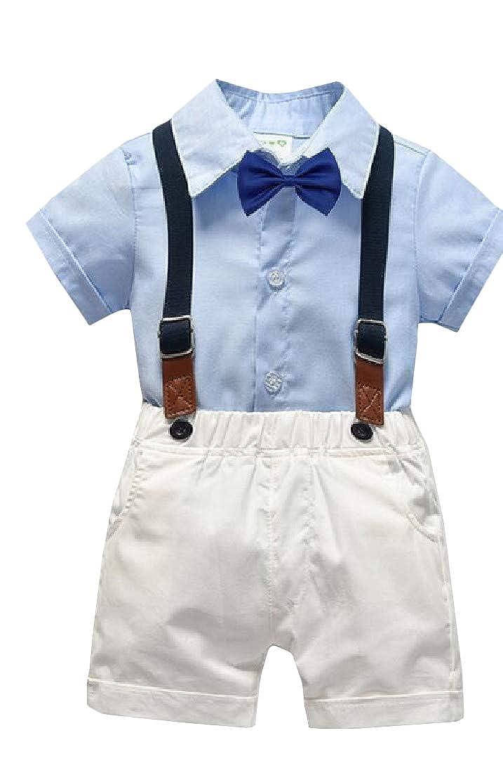 Lutratocro Boy Short Sleeve Pants Suspender Lapel Lovely Tracksuit Set Shirts