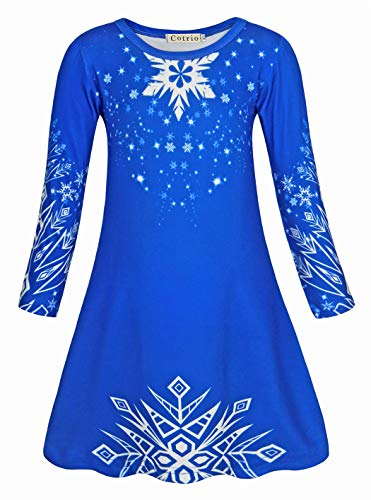 Cotrio Elsa Dress Girls Halloween Costumes Fancy Party Outfits Clothes Toddler Kids Snowflake Princess Dresses Long Sleeve Nightgowns Size 4T (3-4 Years, Blue, 110)