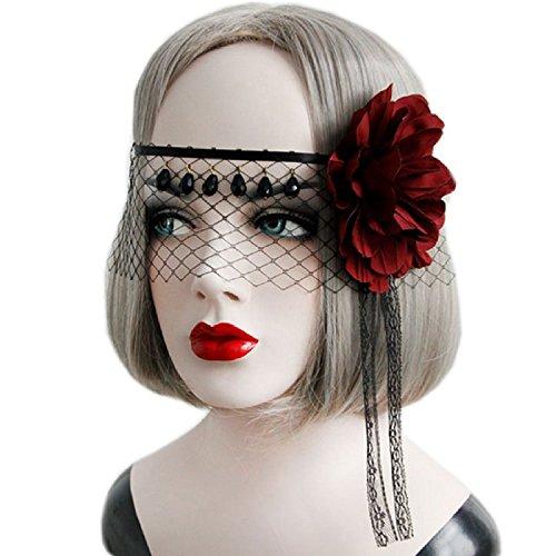 Genluna Women Cosplay Lace Mask Fancy Dress Gothic Half Face Veil Punk Black Mask Onesize One Color