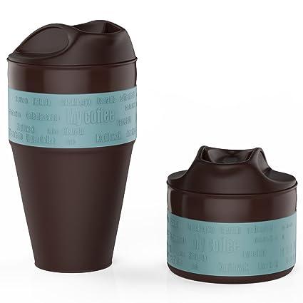 Jerry Caja Plegable taza de café con tapa ajustable, Coffee to go taza, zusammenlegbare