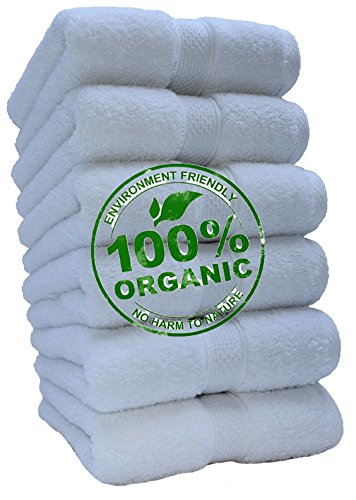 100% Organic Turkish Cotton Premium Quality Luxury Hotel & Spa Turkish Towels Super Soft, Plush, Ultra Absorbent, Quick dry, long lasting HUGE SALE!>>(White, Hand Towel - Set of 6) (Bath Sale)