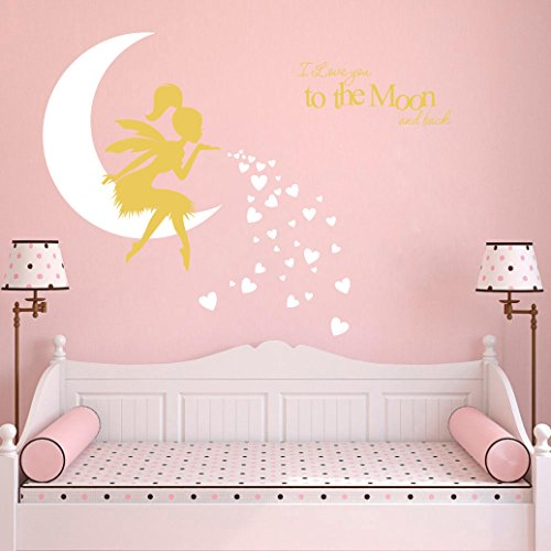 Fairy Wall Decal, I Love You to The Moon and Back, Fairy Wall Sticker for Girl, Kids Bedroom Wall Decals, Nursery Decor(A19) (White Gold) (Hearts Fairy Sticker)