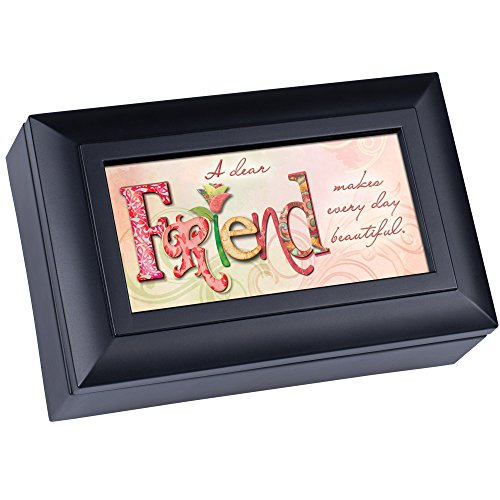 Cottage Garden Dear Friend Makes Every Day Beautiful Matte Black Jewelry Music Box Plays Wonderful World