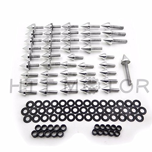 HTTMT MT215-008- Silver Spike Fairing Bolts Compatible with 1999-2000 Honda CBR 600 F4 2001-2007 Cbr600 ()