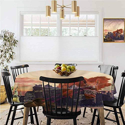 Mantel redondo, mantel de mesa de picnic, animal, diseno de ardilla grande, decoracion de mesa de cocina de Nueva York, diametro de 178 cm