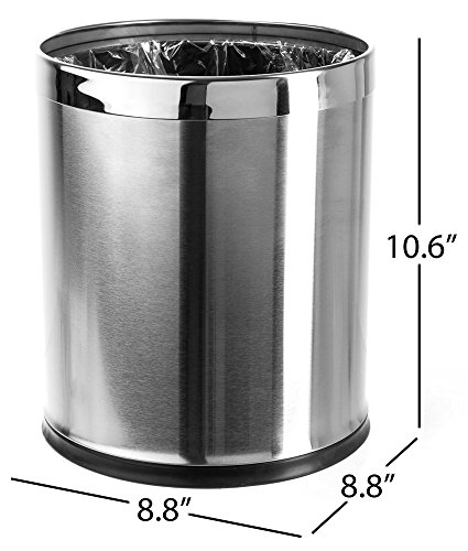 - Brelso 'Invisi-Overlap' Open Top Stainless Steel Trash Can, Small Office Wastebasket, Modern Home Décor, Round Shape