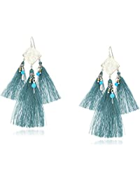 Smoke Blue Mix Coin and Tassel Drop Earrings