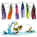 Set of 6 Rigged Trolling Lures Marlin Tuna Mahi Dolphin Durado Wahoo Octopus Skirted Saltwater Fishing Lures