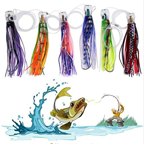 (Set of 6 Rigged Trolling Lures Marlin Tuna Mahi Dolphin Durado Wahoo Octopus Skirted Saltwater Fishing Lures)