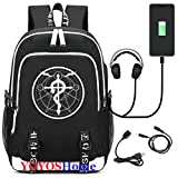 YOYOSHome Luminous Japanese Anime Cosplay Daypack Bookbag Laptop Bag Backpack School Bag with USB Charging Port (Fullmetal Alchemist 1)