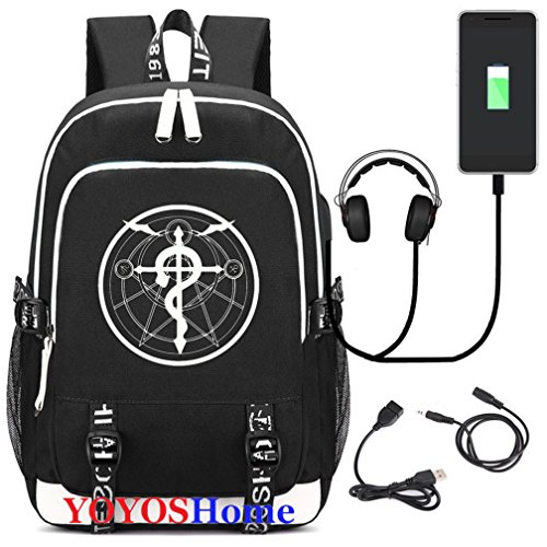 Anime Metal Pendant - YOYOSHome Luminous Japanese Anime Cosplay Daypack Bookbag Laptop Bag Backpack School Bag with USB Charging Port (Fullmetal Alchemist 1)