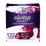 Always Discreet Incontinence Liners, Very Light Absorbency, Long Length, 132 Count, packaging may vary