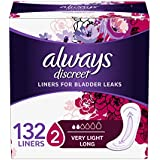 Always Discreet, Incontinence Liners, Very Light, Long Length, 44 Count - Pack of 3 (132 Total Count)