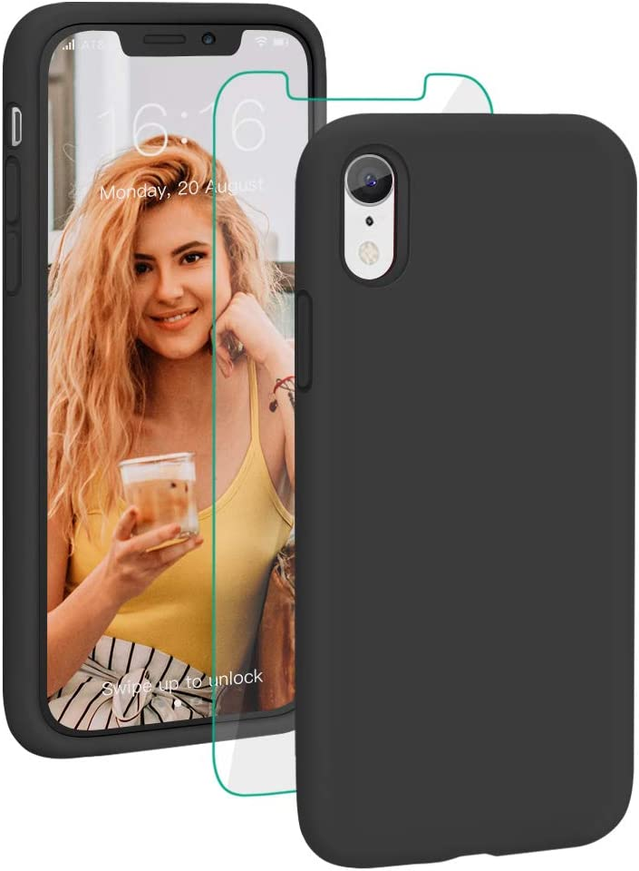 Silicone Rubber Full Protective Phone Case Cover for iPhone 11 Shockproof iPhone 11 Case with Tempered Glass Screen Protector Anti-Scratch Black ProBien Case for iPhone 11 Anti-Yellow