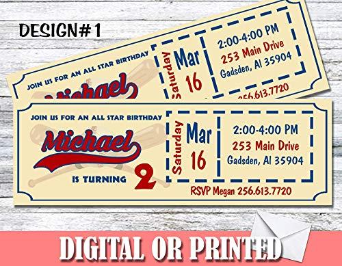 Baseball Ticket Personalized Birthday Invitations More Designs Inside! -