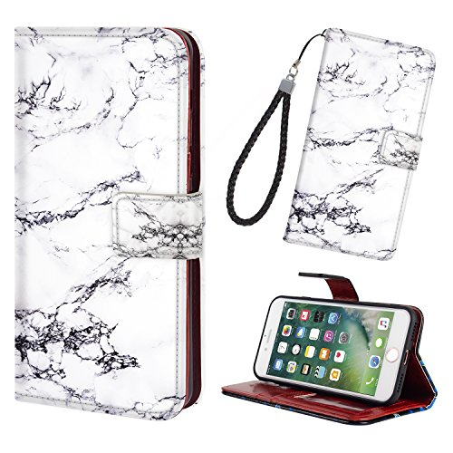 iPhone 7/8 Phone Case Wallet,Premium PU Leather Wallet Flip Protective Case Cover with Card Slots Money Pocket Magnetic Closure & Free Wrist Strap for iPhone 7/8 - Marble Black White ()