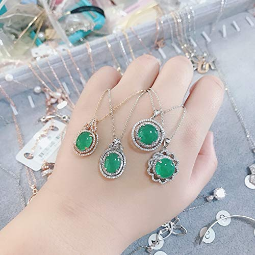Steel Emerald Stone Necklace Pendant Creative (Silver Circular Section