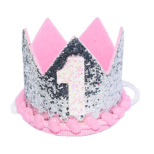 [Maticr Sparkled Princess First Birthday Tiara Crown Headband Party Supplies for Baby Girl] (1 Year Old Fancy Dress Costumes)