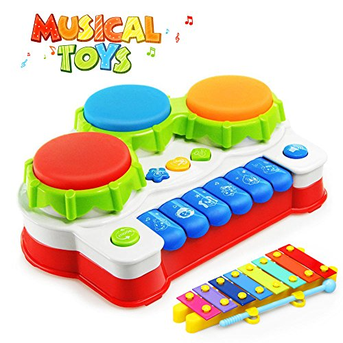 Baztoy Baby Toys Piano Music Keyboard Toddler Toys Xylophone Hand Drum Christmas Birthday Gift with Flash Lights for Kids Early Educational Learning(with Hand Knock Xylophone)