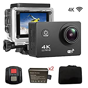"""Sports Action DV Camera 4K 16MP Ultra HD Waterproof Sports Camera with Carry Case 170°Wide Angle/ 2"""" LCD IPS Screen/ 2.4G Remote/ 30m Waterproof / WiFi Underwater Video Cam for Cycling"""