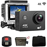 Sports Action DV Camera 4K 16MP Ultra HD Waterproof Sports Camera with Carry Case 170°Wide Angle/ 2 LCD IPS Screen/ 2.4G Remote/ 30m Waterproof / WiFi Underwater Video Cam for Cycling