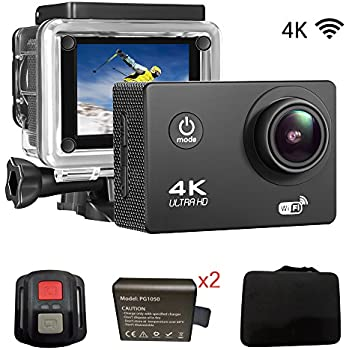"Sports Action DV Camera 4K 16MP Ultra HD Waterproof Sports Camera with Carry Case 170°Wide Angle/ 2"" LCD IPS Screen/ 2.4G Remote/ 30m Waterproof / WiFi Underwater Video Cam for Cycling"