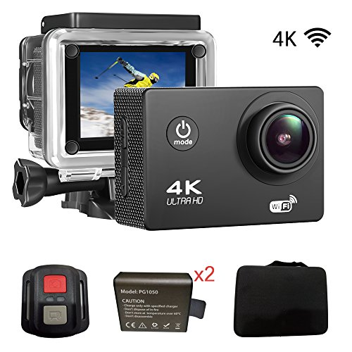 """Sports Action DV Camera 4K 16MP Ultra HD Waterproof Sports Camera with Carry Case 170°Wide Angle/ 2"""" LCD IPS Screen/ 2.4G Remote/ 30m Waterproof / WiFi Underwater Video Cam for Cycling iNcool"""
